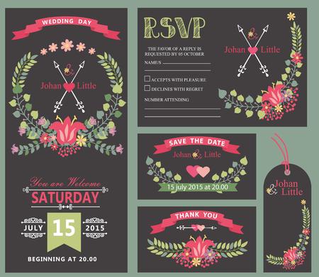 Floral wreath decor wedding invitation template set.
