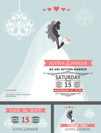 Wedding Bridal shower invitation.Cartoon bride,chandelier