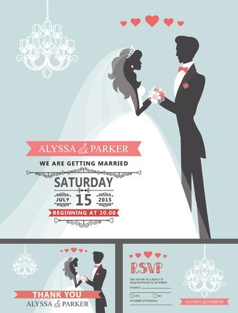 Huwelijksuitnodiging met beeldverhaalbruid, bruidegom, kroonluchter Stockfoto - 77453190