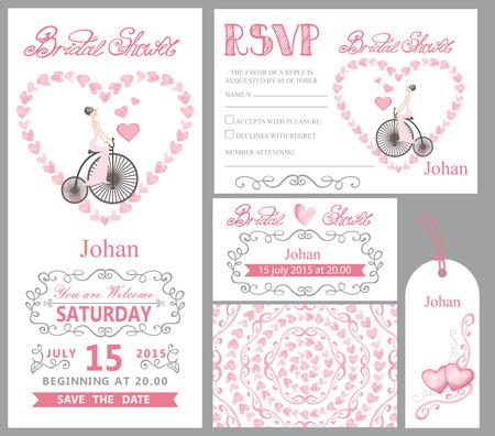 Bruid op retro fiets, roze decor bruiloft uitnodiging. Stock Illustratie