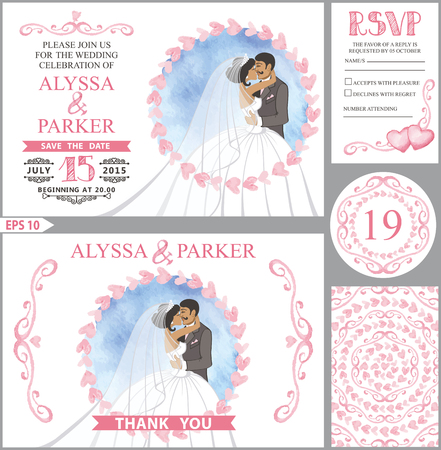 Wedding invitation set.Kissing Bride,groom,Pink heart decor