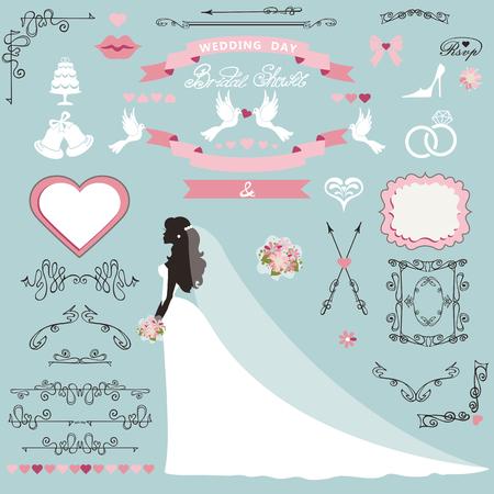 Bruiloft bruids douche uitnodiging kaart decor set. Cartoon bruid in lange jurk, wervelende randen, frames, lint en bloemen, pictogrammen, hart en label. Ontwerp sjabloon kit, sparen datumkaart. Vintage vectorillustratie, plat.