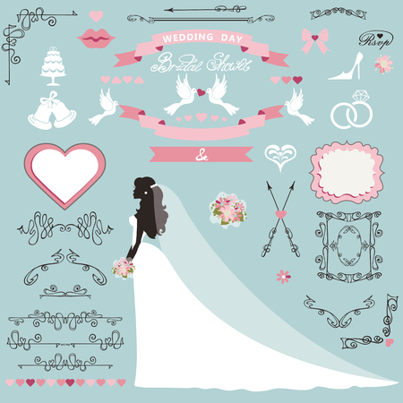 Wedding bridal shower invitation card decor set.Cartoon bride in long dress, Swirling borders,frames, ribbon and flowers,icons,heart and label.Design template kit,save date card.Vintage Vector Illustration,flat. 向量圖像