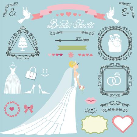 Cartoon bride in long dress wedding bridal shower invitation card decor set. 向量圖像