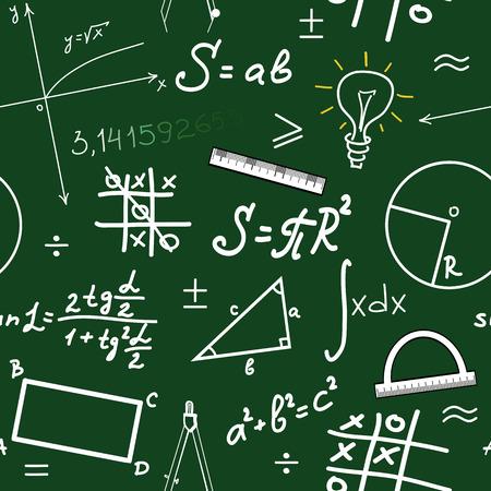 Seamlessly wallpaper mathematics on green blackboard Illustration