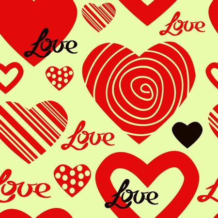 beloved: Heart pattern, vector seamless background. Illustration
