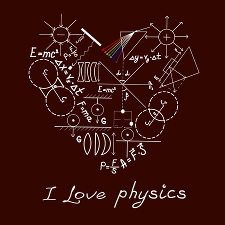 Physics doodles on school squared paper Vector