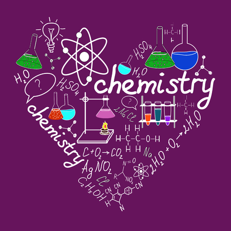 Chemystry doodles on school squared paper Vector