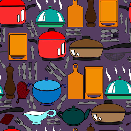 strainer: Seamless pattern with kitchen utensils Illustration