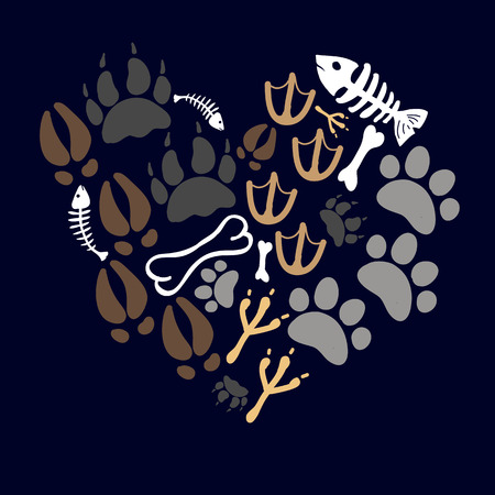 pets footsteps card Vector