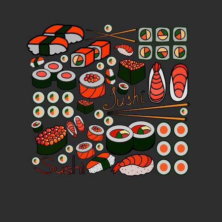 sushi and rolls, vector illustration Vector