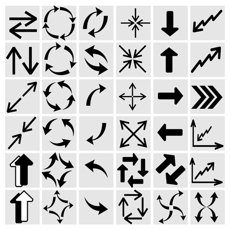 reusable: arrow icons set collections. black symbols isolated on white background. vector illustration Illustration
