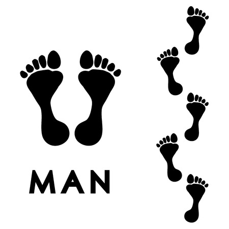 Trail of black human bare footsteps isolated on white background vector Illustration