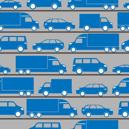 seamless pattern with blue little cars Vector