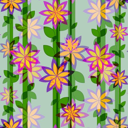 vertical lines: flower pattern and vertical  lines