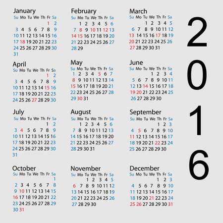 Vector calendar 2016. Week starts from Sunday Illustration