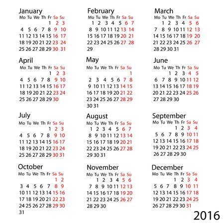 week: Vector calendar 2016. Week starts from Monday Illustration