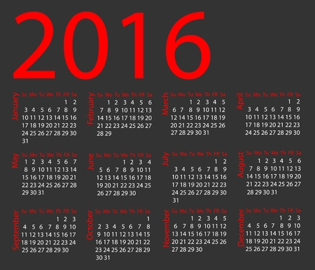 week: Vector calendar 2016. Week starts from Sunday Illustration