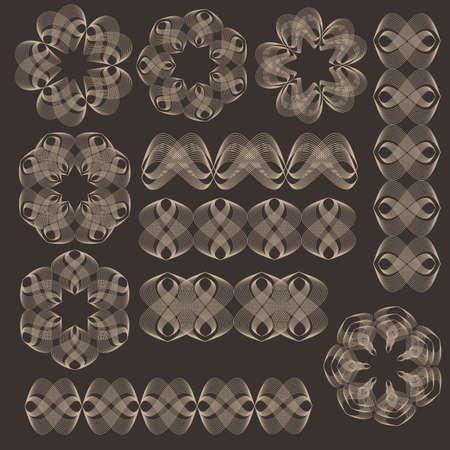 Guilloche vector elements. Illustration