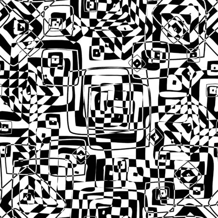 square abstract: Seamless texture in black and white colors Illustration