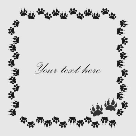 Cat Or Dog Paw Prints Frame For Your Text Background, Vector Royalty ...