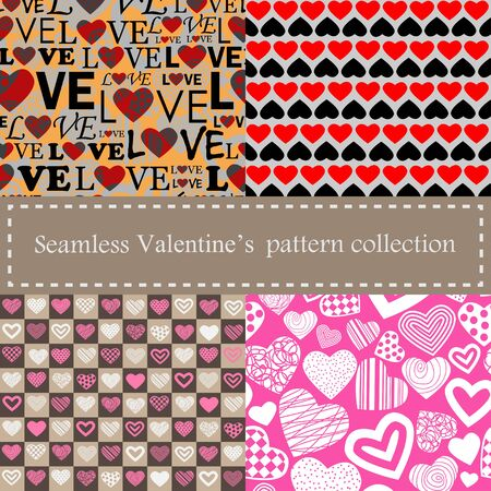 Set of Valentine's seamless pattern with hearts