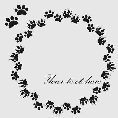 Cat or dog paw prints  frame for your text background, vector 矢量图像