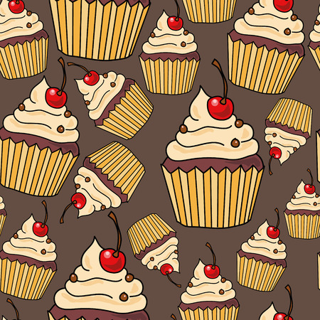 Seamless pattern with cakes, vector illustration 矢量图像