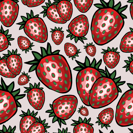 Seamless pattern with strawberry, vector illustration 矢量图像