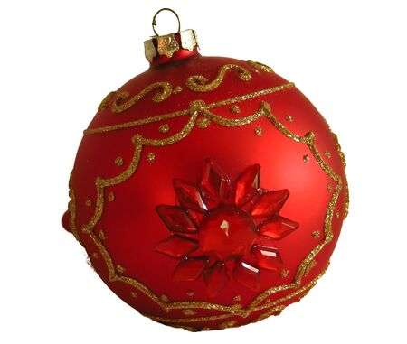 Red christmas ball isolated on white background, toys 写真素材