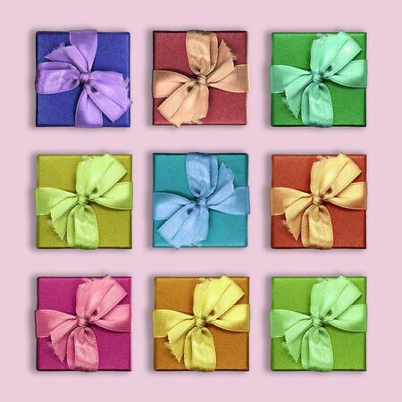 Collection of nine bright gift boxes, colorful boxes, blue, red, orange and yellow boxes, top view