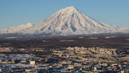Beautiful view of Viliuchinsky Volcano, Krasheninnikova Bay, Avacha Bay at sunrise. Kamchatka.
