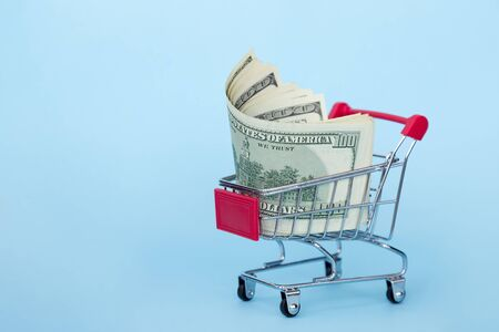 grocery cart with american dollars on a blue background