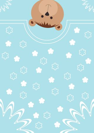 baby blue: Greeting card with bear and flowers. Vector illustration Illustration