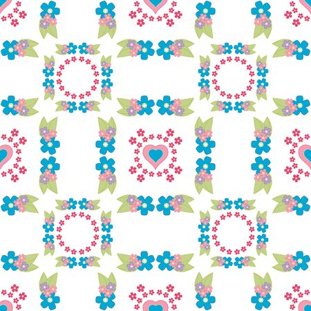 calico: Cute floral background, vector pattern with forget-me-not flowers. Seamless vector floral pattern for cushion, pillow, bandanna, silk kerchief or shawl fabric print. Texture for clothes, bedclothes Illustration