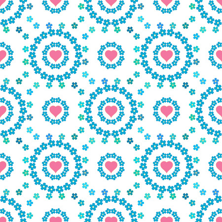 bedclothes: Cute floral background, vector pattern with forget-me-not flowers. Seamless vector floral pattern for cushion, pillow, bandanna, silk kerchief or shawl fabric print. Texture for clothes, bedclothes Illustration
