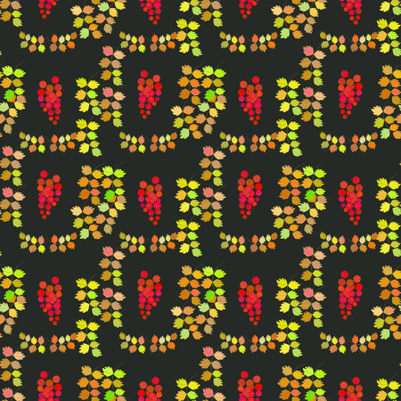 jitter: Seamless vector pattern, autumn design. Cushion, pillow, bandanna, silk kerchief or shawl fabric print. Texture for clothes and bedclothes