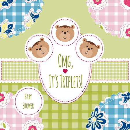 triplet: Three happy triplets. Baby arrival announcement card. Triplets baby girls and boys shower card, cute newborn. Teddy bears, kid style greeting card vector background.