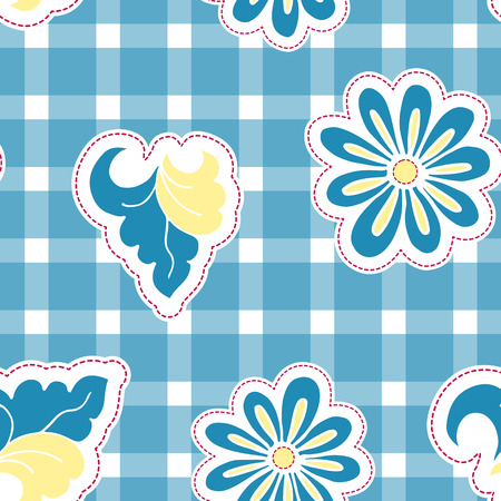 calico: Floral background with hand drawn folk flowers. Seamless Easter vector pattern for cushion, pillow, bandanna, silk kerchief or shawl fabric print. Texture for clothes, bedclothes