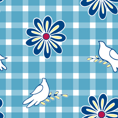 calico: Floral background with hand drawn folk flowers and pigeon birds. Seamless Easter vector pattern for cushion, pillow, bandanna, silk kerchief or shawl fabric print. Texture for clothes, bedclothes