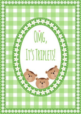 triplet: Three happy triplets. Baby arrival announcement card. Triplets baby girls and boys shower card, cute newborn. Teddy bears, kid style greeting card vector background. OMG its triplets text