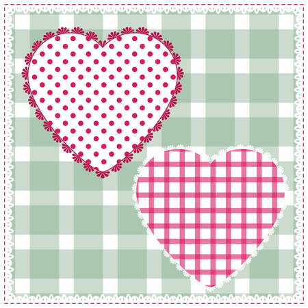 calico: Seamless background for cushion, pillow, bandanna, kerchief, shawl fabric print. Texture for clothes or bedclothes. Vector pattern with hearts for Valentines day. Embroidery stylization Illustration
