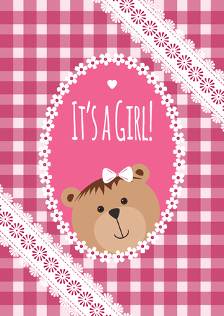 baby girl arrival: Baby girl arrival, shower, Greeting, announcement card with teddy bear and hearts. Vector illustration, postcard, Embroidery stylization