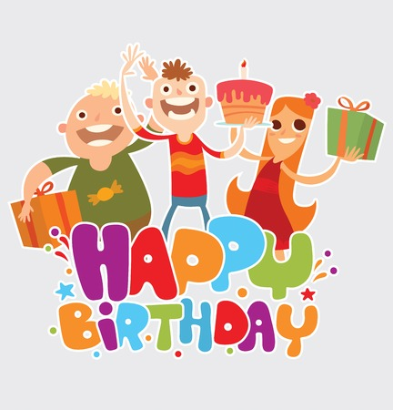rejoicing: Vector cartoon image of three friends of boys and girl with gifts and cake rejoicing on a light background. The text of Happy birthday written in colorful letters with confetti. Vector illustration. Illustration