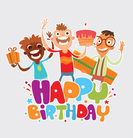 rejoicing: Vector cartoon image of three friends of boys with gifts and cake rejoicing on a light background. The text of Happy birthday written in colorful letters with confetti. Vector illustration. Illustration