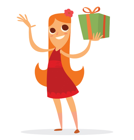 tied girl: Vector cartoon image of a funny girl with long red hair in a red dress with a green gift tied with orange ribbon in her hand on a white background. Holiday, fun, birthday. Vector illustration.