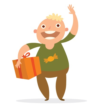 blond hair: Vector cartoon image of a funny fat boy with blond hair in brown pants, green shirt with orange gift tied with a red ribbon in hand on a white background. Holiday, fun, birthday. Vector illustration.