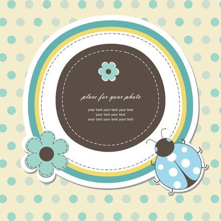 scrapbooking paper: Baby card with ladybird Illustration