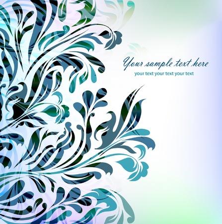 invitaci�n matrimonio: Fondo floral azul abstracto con el texto de la tarjeta, invitaci�n, boda, ilustraci�n, fondos de pantalla, tarjeta postal, saludo