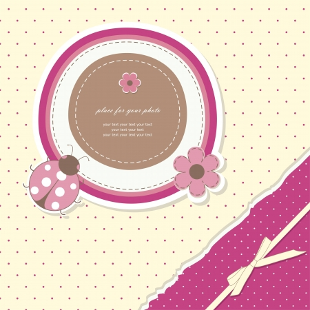 scrapbooking: Romantic girl scrapbooking   Illustration